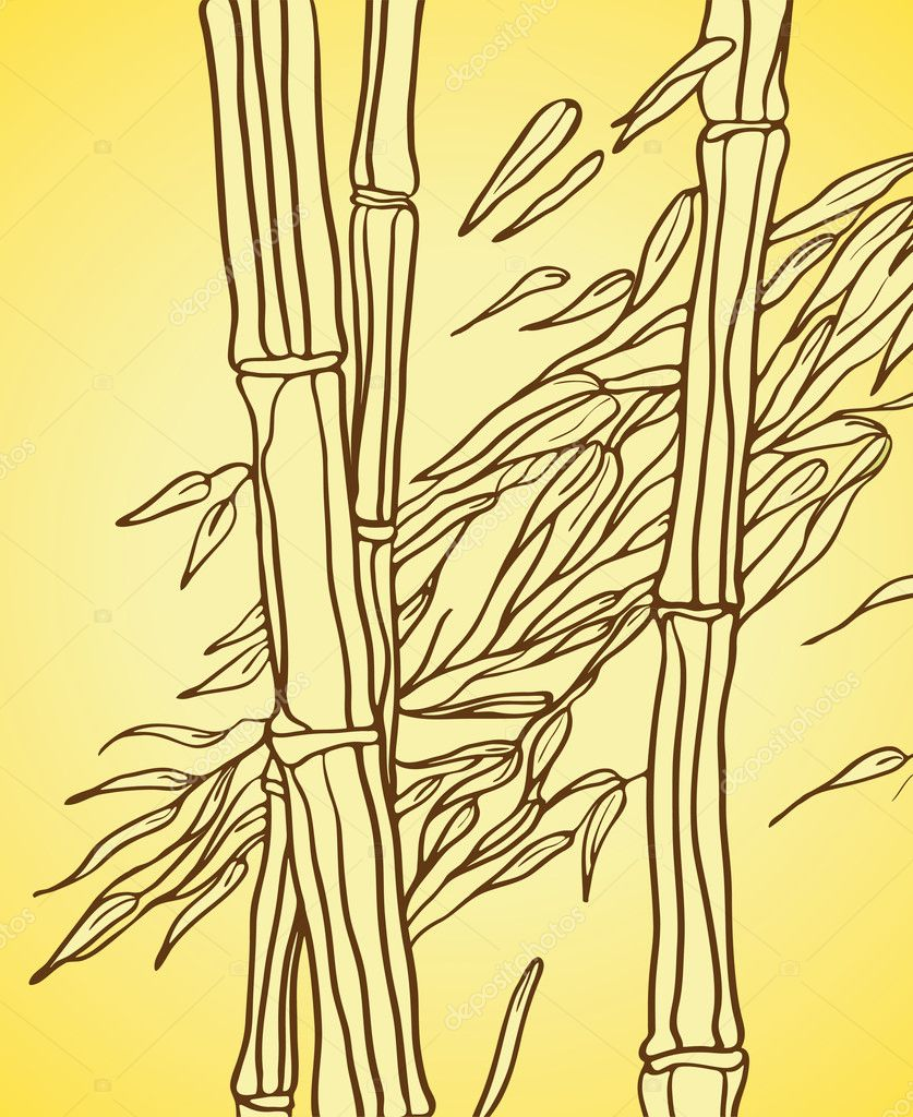 Bamboo with leaves in the wind