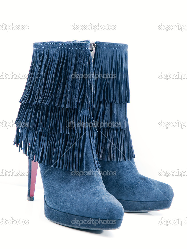 Stylish blue leather women's boots