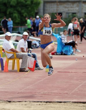 Nikolaeva Irina competes in the triple jump competition on Ukrainian Cup in Athletics, on May 29, 2012 in Yalta, Ukraine.