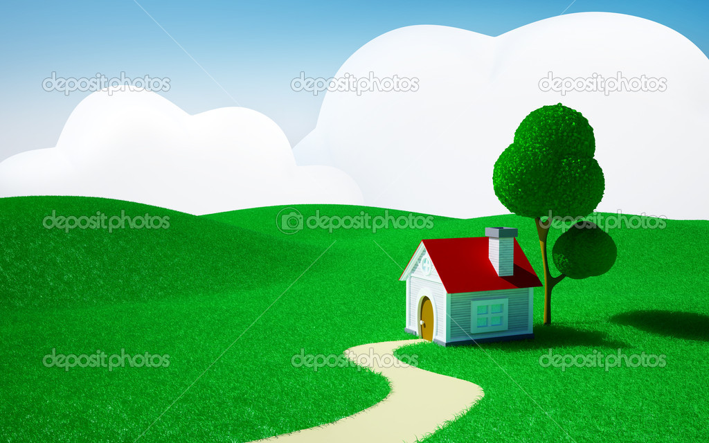 Home on a green field