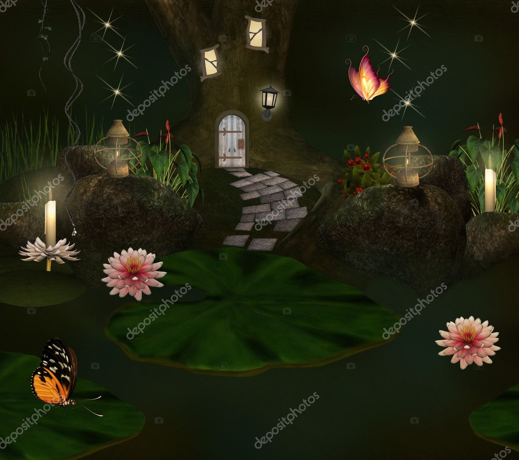 Elf house and pond