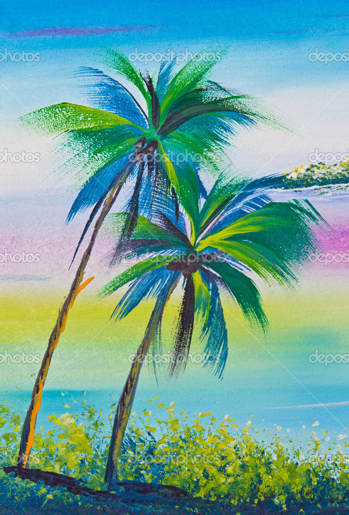 Poster Color Drawing Coconut Tree And Sea Stock Photo C Tungphoto