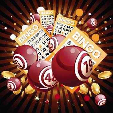 Bingo or lottery balls and cards on shiny background.