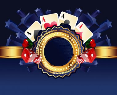 Casino gold-framed composition with cards, dice and cherries on