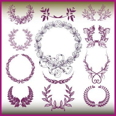 Vector set of laurel wreaths.