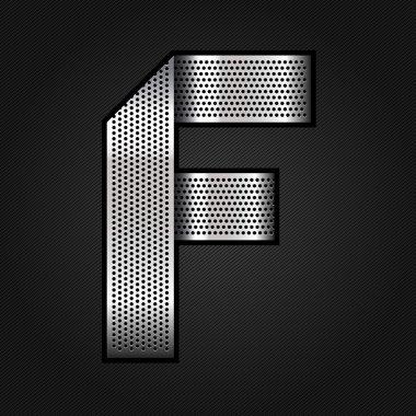 Letter metal chrome ribbon - F