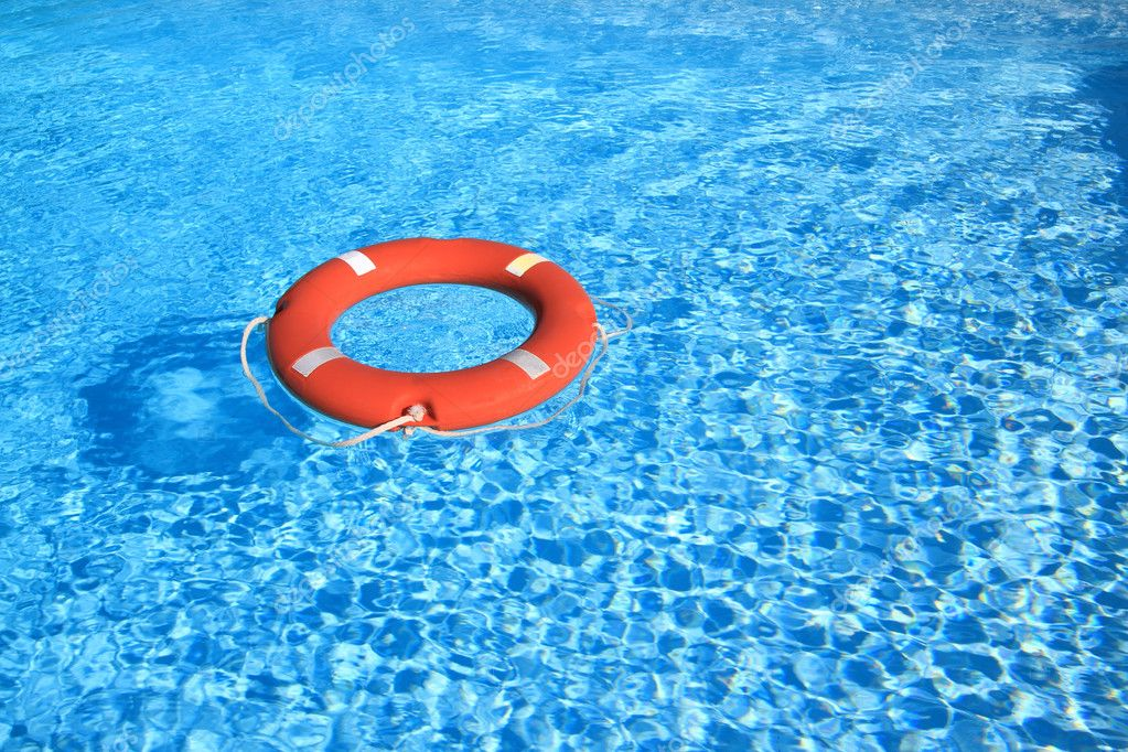 Life belt floating on water