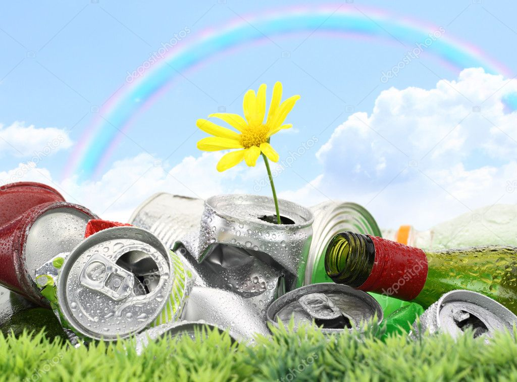 Garbage with growing daisy under rainbow