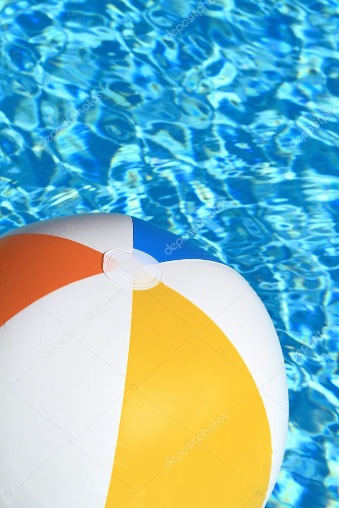 swimming pool beach ball background. Summer Background. Beach Ball On The Swimming Pool \u2014 Stock Photo Background C