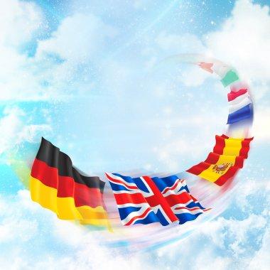 European flags flying against beautiful background. Internationa