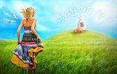 Fotografie mladá žena běží přes pole k autu na kopci