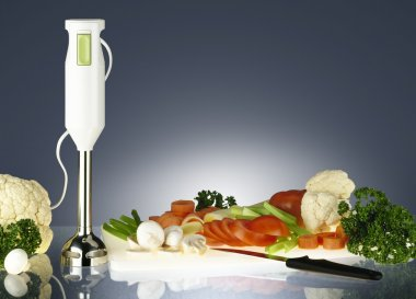 Fresh vegetables and electrical blender