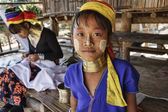 Photo Thailand, Chang Mai, Karen Long Neck hill tribe village (Kayan Lahwi), young girl and her mother in traditional costumes. Women put brass rings on their neck when they are 5 or 6 years old and increas