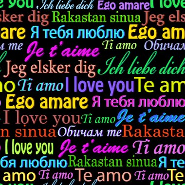 Vector illustration of seamless pattern with words I love you on different languages clip art vector