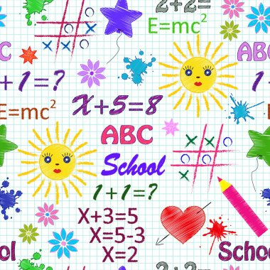 School seamless pattern with differents elements