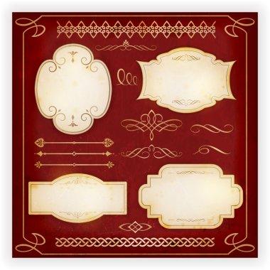 Various labels, borders, dividers, calligraphic design elements