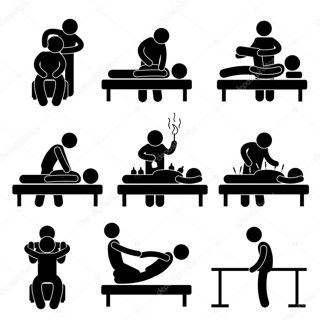 Chiropractic Physiotherapy Acupuncture Massage Rehabilitation Health Medical Treatment Icon Sign Symbol Pictogram