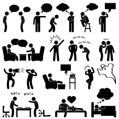 A set of pictogram representing conversation, reaction, and thoughts. clip art vector