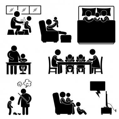 Family Activity House Home Bathing Sleeping Teaching Eating Watching Tv Together Icon Symbol Sign Pictogram