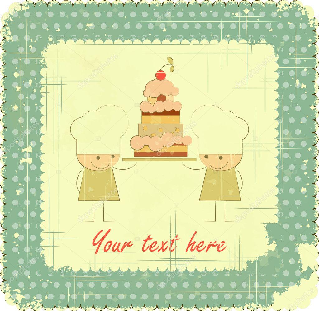menu k narozeninám ročník menu design karty s kuchařem, přání k narozeninám — Stock  menu k narozeninám