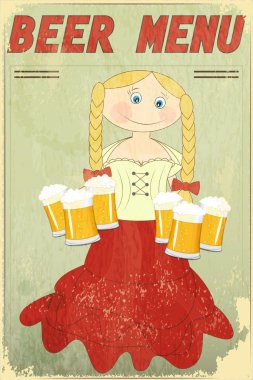 Vintage Design Beer Menu - blond girl with beer - Vector illustration clip art vector