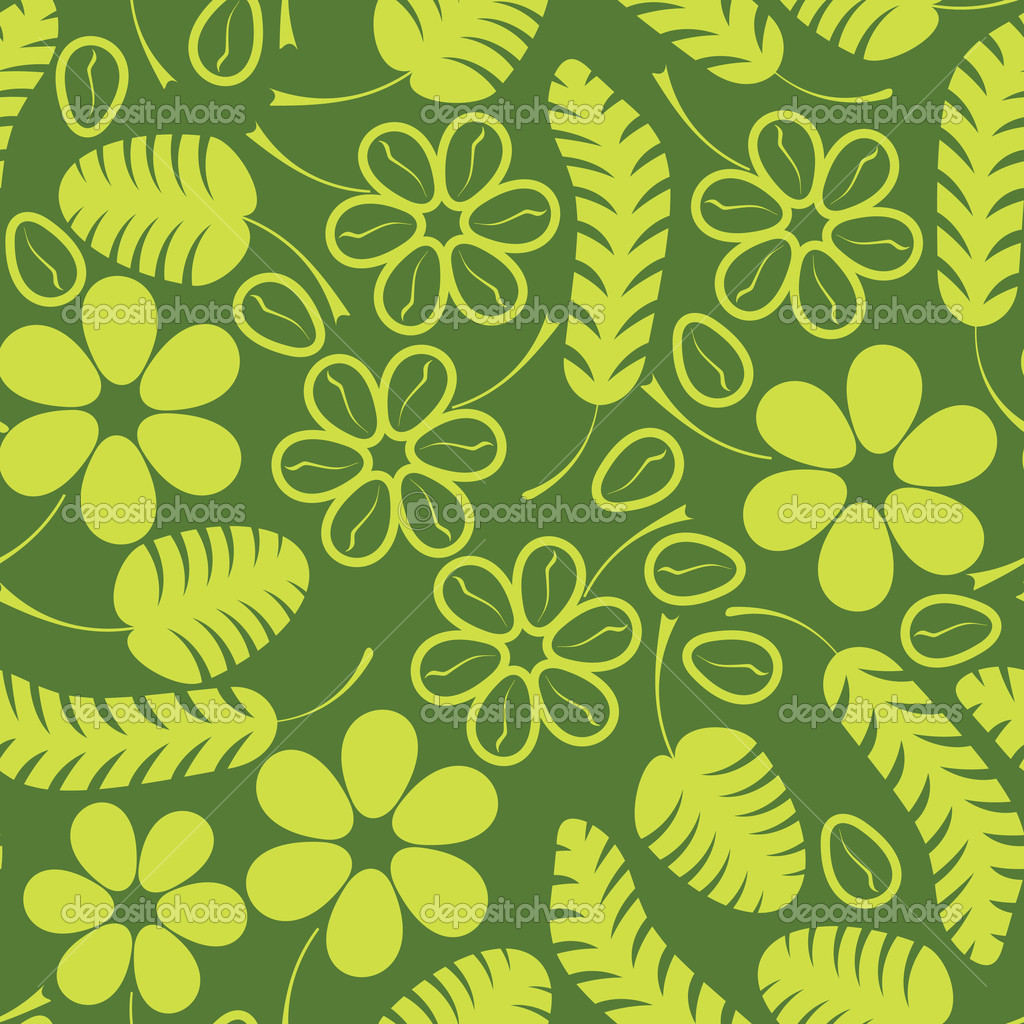 Decorativas verdes hojas y flores sobre fondo verde for Plantas decorativas hojas