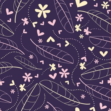 Decorative flowers and feathers on blue background seamless - pattern