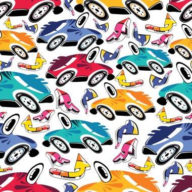 Fantastic cars - seamless pattern
