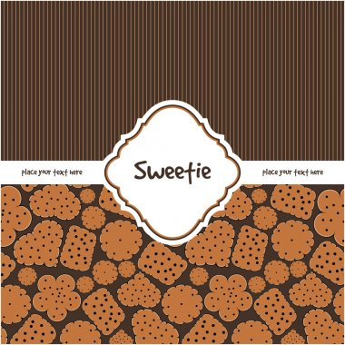 Card with sweet cookies on brown
