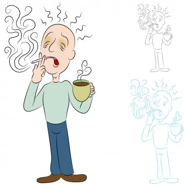 An image of a man sick from coffee and cigarettes. clip art vector