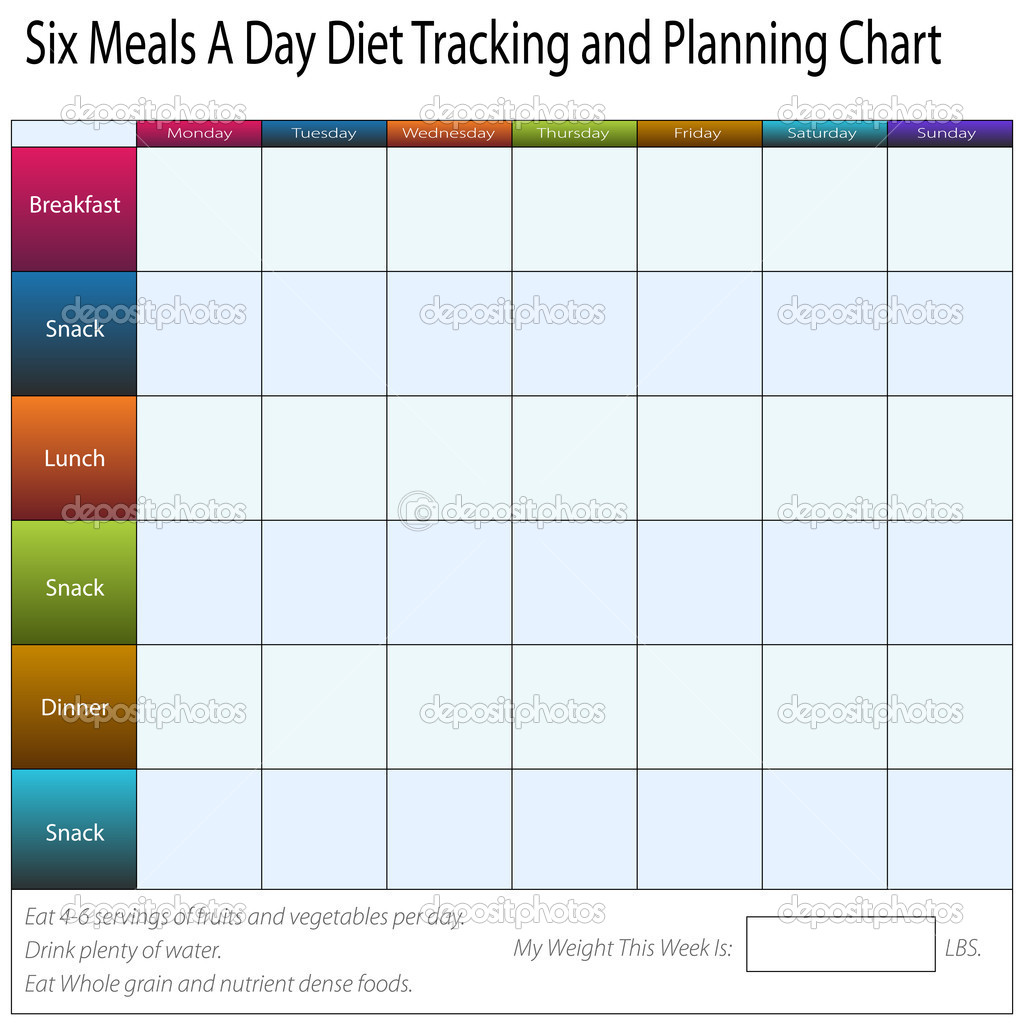 six meals a day weekly diet tracking and planning chart stock
