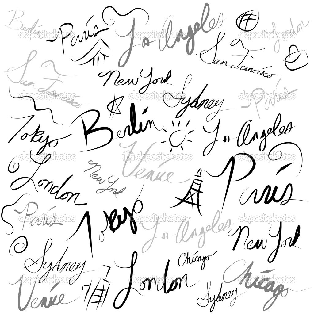 Travel Location Handwriting Doodle