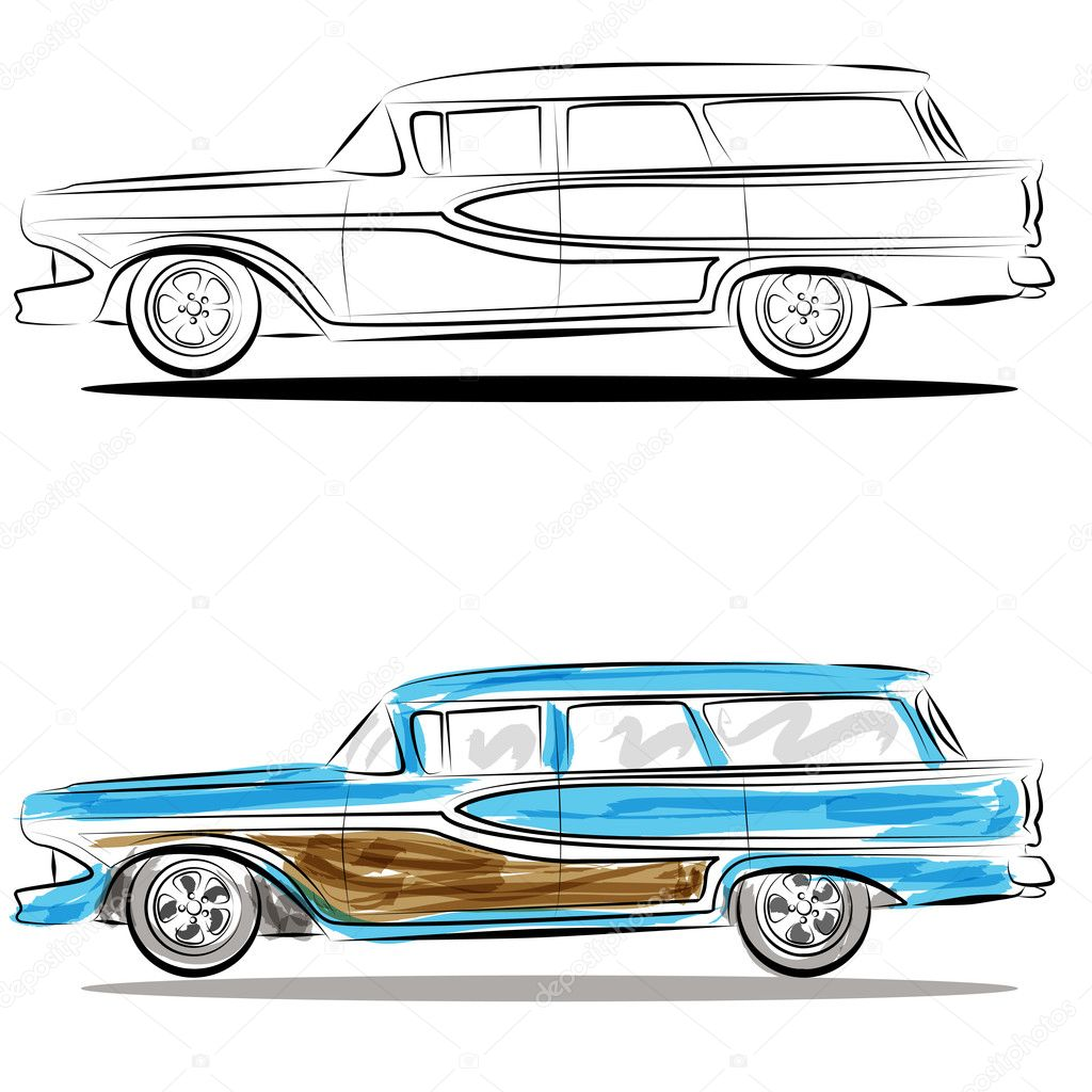 Watercolor Station Wagon Line Art Stock Vector C Cteconsulting