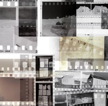 Grungy old film negatives overlapping stock vector