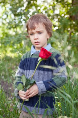 Sad little boy holding red rose in her hand, park