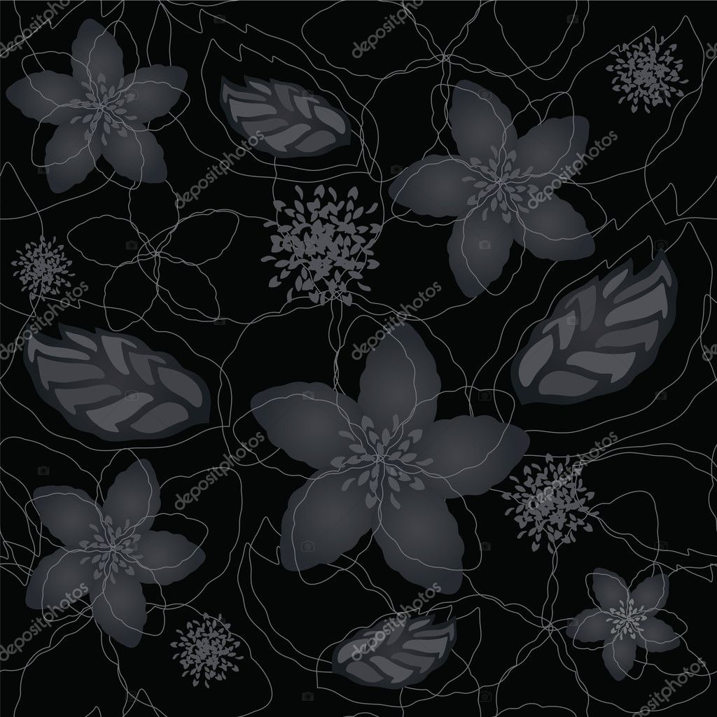 Seamless Black And Silver Floral Wallpaper Stock Vector Linas
