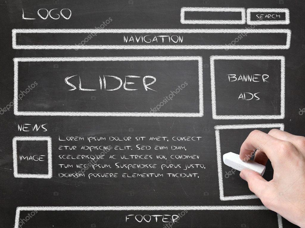 Website wireframe sketch on blackboard
