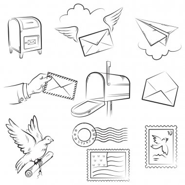 Set of vector sketches on mail and post delivery theme