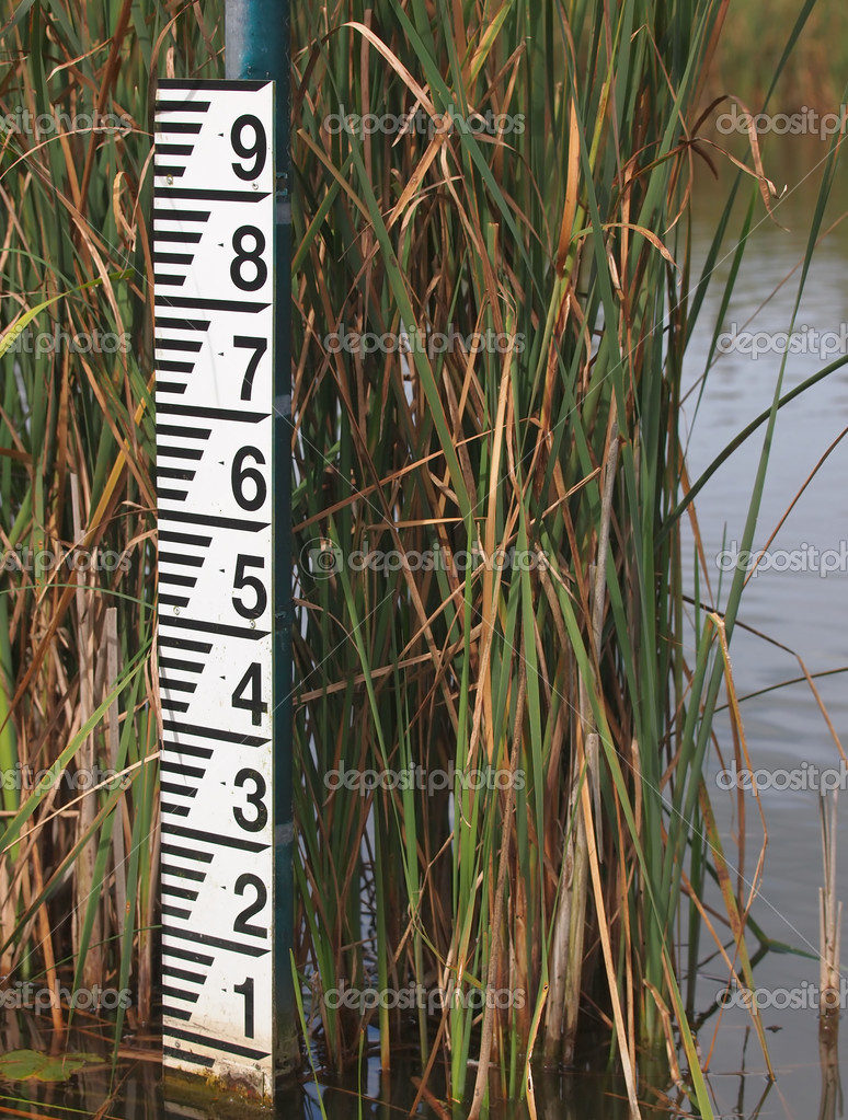 Water level meter after low rainfall