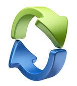ikona šipky 3d. recyklované symbol izolovaných na bílém