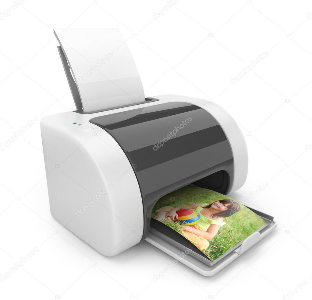 Printer 3D. Print of photos. Icon isolated on white