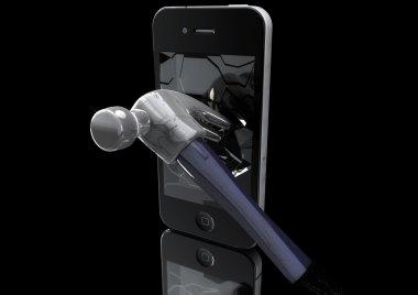 Hammer destroys Mobile Phone