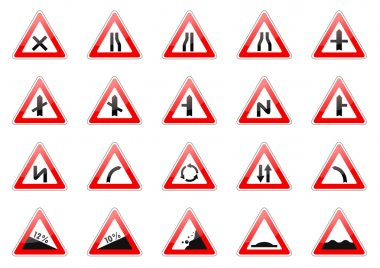 Set of glossy road signs