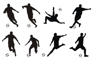 Vector illustration of soccer players silhouettes stock vector