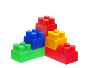 Bright Color Building Blocks Isolated on White. Focus on near ed