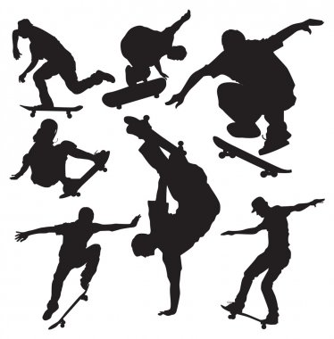 Vector skateboarders silhouettes stock vector