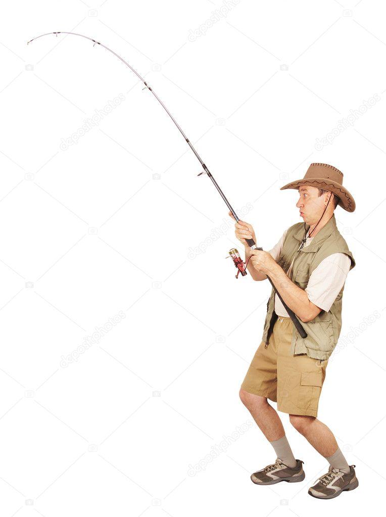 Fisherman caught a big fish stock photo a poselenov for Big 5 fishing license