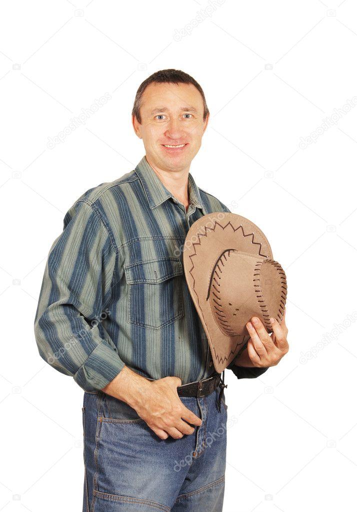 Muž v džínové šaty s kovbojský klobouk — Fotografie od a-poselenov 74c59bb923