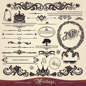 Fotografia EPS 10, set calligrafia vettoriale: stile vintage, ornamenti di disegno ornato e decorazione di pagina, modelli creativi