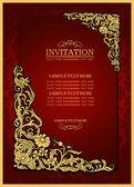 Abstrakte Hintergrund mit antiken, Luxus roten Vintage Rahmen, viktorianischen Banner, Damast Floral Tapete Ornament, Einladungskarte, Barock-Stil-Broschüre, Mode-Muster, Papier-Seite-Vorlage für Design
